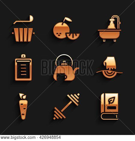 Set Teapot With Cup, Dumbbell, Medical Book, Massage, Carrot, Clipboard Checklist, Bathtub And Sauna