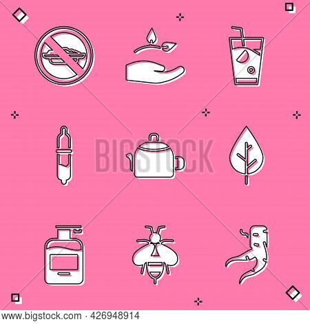 Set Food No Diet, Leaf In Hand, Fresh Smoothie, Pipette, Kettle With Handle, Bottle Of Liquid Soap A