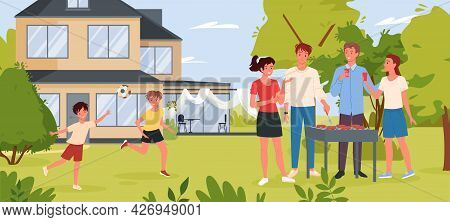Family People On Bbq Party In Backyard Garden Or Summer Park, Cooking Grill Meat Sausages