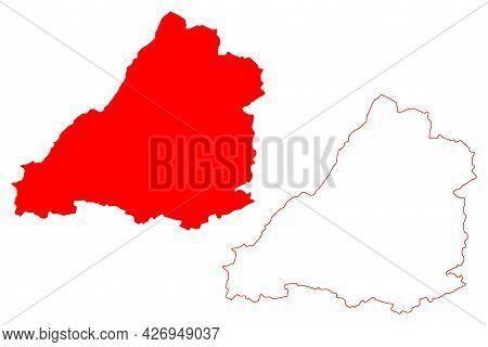 Avon County (united Kingdom,  Non-metropolitan And Ceremonial County Of England) Map Vector Illustra
