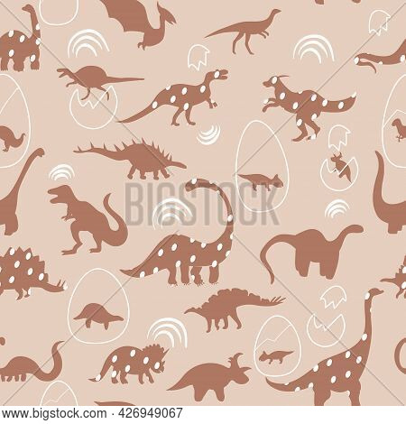 Seamless Pattern With Cute Silhouettes Baby Dinosaurs. Jurassic,mesozoic Reptiles With Animal Eggs.v