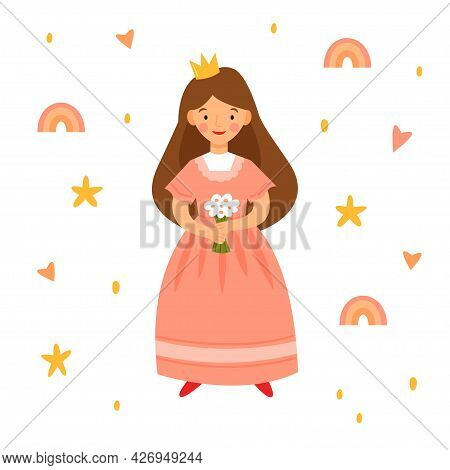 Little Cute Princess In A Pink Dress With A Bouquet Of Flowers. Character From A Fairy Tale Isolated
