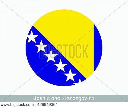 Bosnia And Herzegovina Round Circle Flag. Bosnian And Herzegovinian Circular Button Banner Icon. Eps