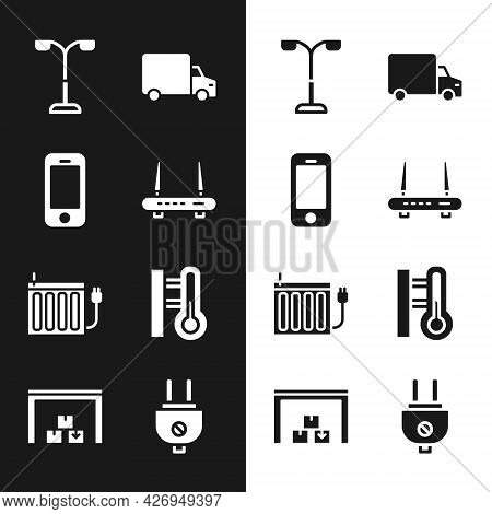Set Router And Wi-fi Signal, Smartphone, Street Light, Delivery Cargo Truck, Heating Radiator, Meteo
