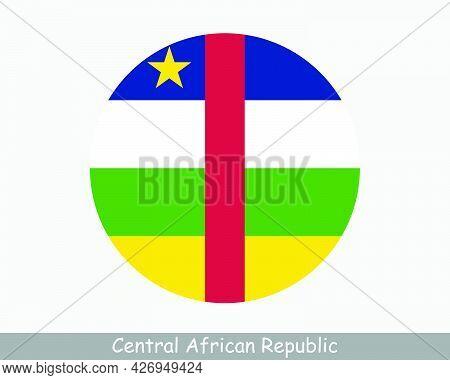 Central African Republic Round Circle Flag. Car Circular Button Banner Icon. Eps Vector