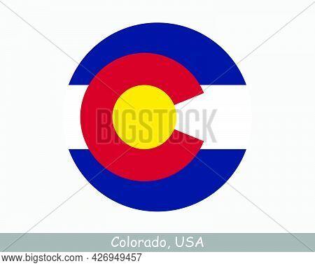 Colorado Round Circle Flag. Co Usa State Circular Button Banner Icon. Colorado United States Of Amer