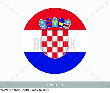 Croatia Round Circle Flag. Croatian Circular Button Banner Icon. Eps Vector