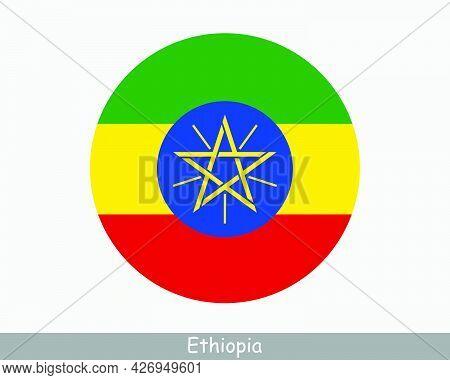 Ethiopia Round Circle Flag. Ethiopian Circular Button Banner Icon. Eps Vector