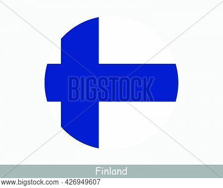 Finland Round Circle Flag. Finnish Circular Button Banner Icon. Finn Flag Eps Vector
