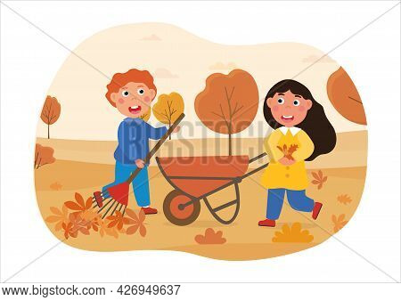 Children Do Housework Concept. A Girl And A Boy Are Raking Autumn Leaves Into A Cart. Little Helpers