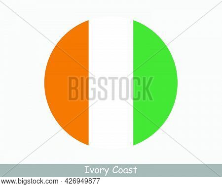Ivory Coast Round Circle Flag. Cote D Ivoire Circular Button Banner Icon. Ivorian Flag Eps Vector