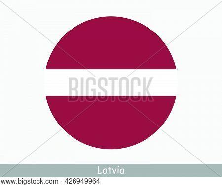 Latvia Round Circle Flag. Latvian Circular Button Banner Icon. Eps Vector
