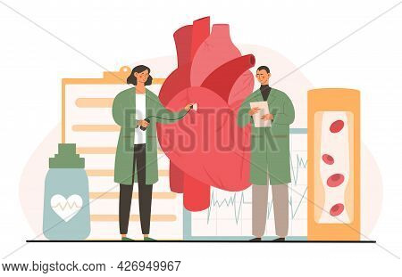 Atherosclerosis Concept. Doctors Check The Patient Heart And Blood Vessels. Elevated Cholesterol Lev