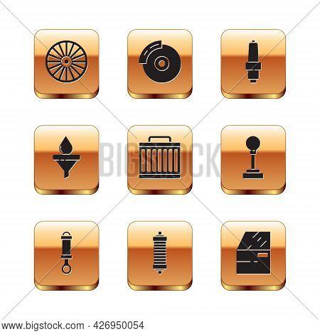 Set Alloy Wheel, Shock Absorber, Car Radiator Cooling System, Funnel And Oil Drop, Spark Plug, Door