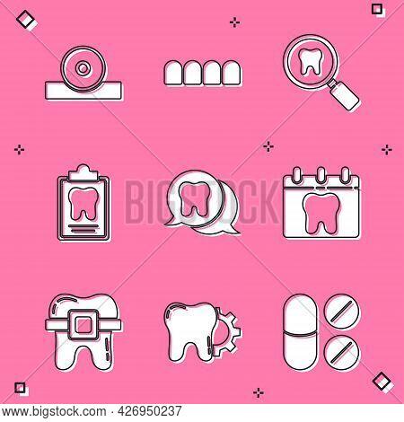 Set Otolaryngological Head Reflector, Dentures Model, Dental Search, Card, Tooth, Calendar With Toot