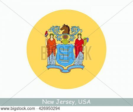 New Jersey Round Circle Flag. Nj Usa State Circular Button Banner Icon. New Jersey United States Of