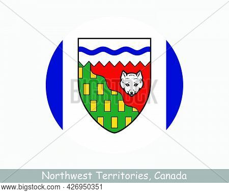 Northwest Territories Canada Round Circle Flag. Nt Canadian Territory Circular Button Banner Icon. N