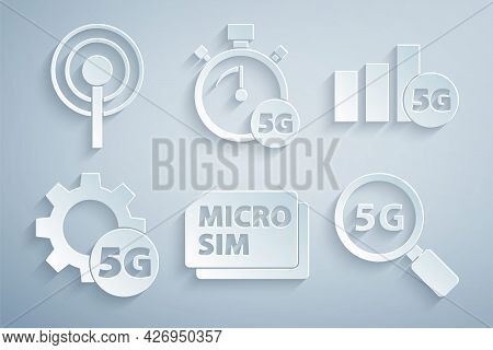 Set Micro Sim Card, 5g Network, Setting, Search, Digital Speed Meter And Antenna Icon. Vector