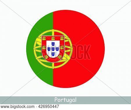 Portugal Round Circle Flag. Portuguese Circular Button Banner Icon. Eps Vector