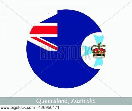 Queensland Australia Round Circle Flag. Qld Australian State Circular Button Banner Icon. Sunshine S