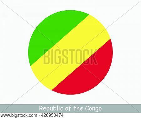 Republic Of The Congo Round Circle Flag. Congolese Circular Button Banner Icon. Congo-brazzaville Fl