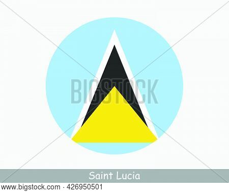 Saint Lucia Round Circle Flag. Saint Lucian Circular Button Banner  Icon. Eps Vector