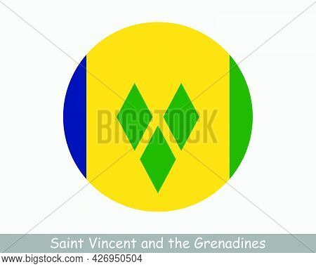 Saint Vincent And The Grenadines Round Circle Flag. Saint Vincentian Circular Button Banner Icon. St