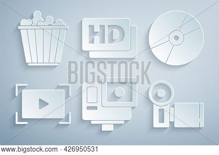 Set Action Extreme Camera, Cd Or Dvd Disk, Online Play Video, Cinema, Hd Movie, Tape, Frame And Popc