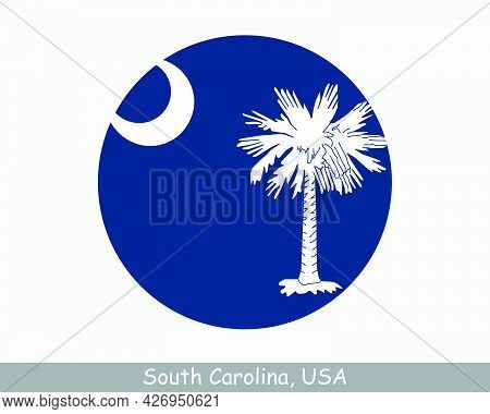 South Carolina Round Circle Flag. Sc Usa State Circular Button Banner Icon. South Carolina United St