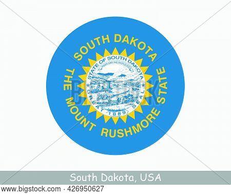 South Dakota Round Circle Flag. Sd Usa State Circular Button Banner Icon. South Dakota United States