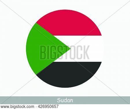 Sudan Round Circle Flag. Sudanese Circular Button Banner Icon. Eps Vector