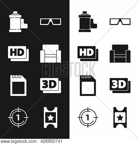 Set Cinema Chair, Hd Movie, Tape, Frame, Camera Film Roll Cartridge, 3d Cinema Glasses, Sd Card, Wor
