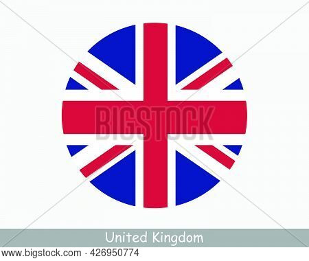 Uk Round Circle Flag. United Kingdom Of Great Britain And Northern Ireland Circular Button Banner Ic
