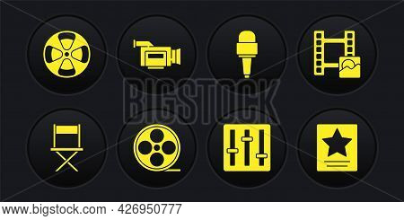 Set Director Movie Chair, Play Video, Film Reel, Sound Mixer Controller, Microphone, Cinema Camera,