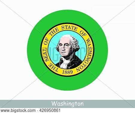 Washington Round Circle Flag. Wa Usa State Circular Button Banner Icon. Washington United States Of
