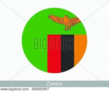 Zambia Round Circle Flag. Zambian Circular Button Banner Icon. Eps Vector