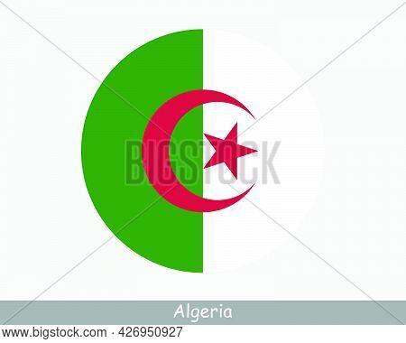 Algeria Round Circle Flag. Algerian Circular Button Banner Icon. Eps Vector
