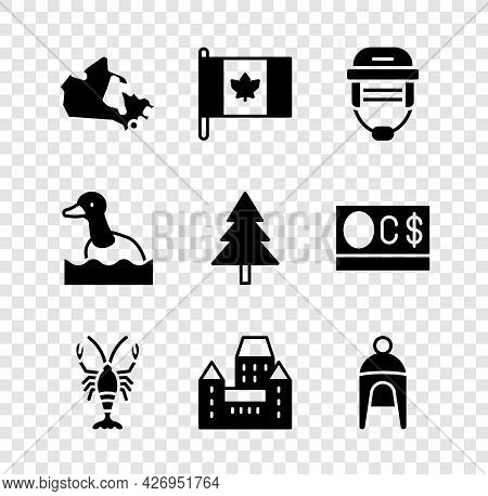 Set Canada Map, Flag Of, Hockey Helmet, Lobster, Chateau Frontenac Hotel, Winter, Flying Duck And Ch