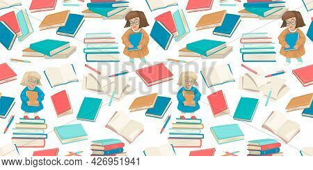 Girl And Student School Things, Open Books, Textbooks And Pages With Pencil And Pen. Wallpaper, Text
