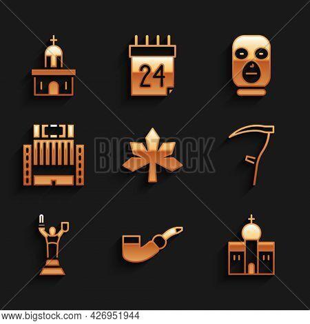 Set Chestnut Leaf, Smoking Pipe, Church Building, Scythe, Mother Motherland Monument, Hotel Ukraina,