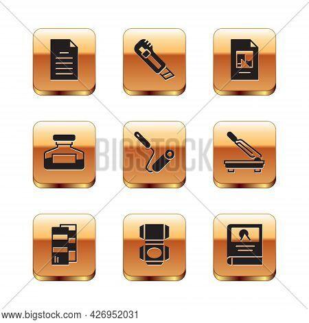 Set File Document, Pantone, Carton Cardboard Box, Paint Roller Brush, Ink Bottle, Photo Album Galler
