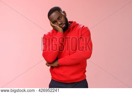 Bored Young 25s Black Guy In Red Hoodie Facepalm Lean Head Hand Look Indifferent Sleepy Attend Borin