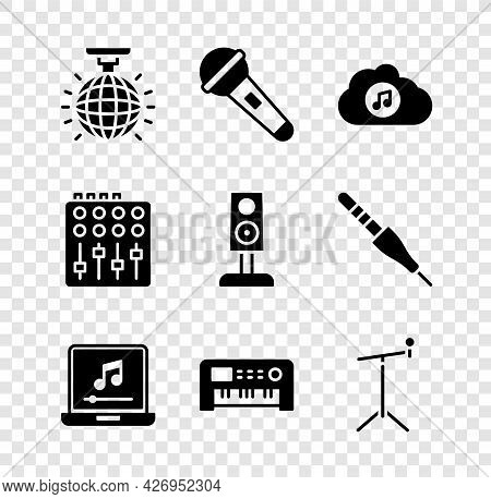 Set Disco Ball, Microphone, Music Streaming Service, Laptop With Music Note, Synthesizer, Stand, Sou