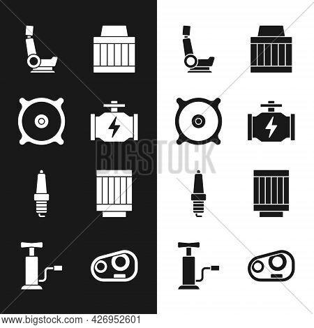 Set Check Engine, Car Audio Speaker, Seat, Air Filter, Spark Plug, Headlight And Pump Icon. Vector