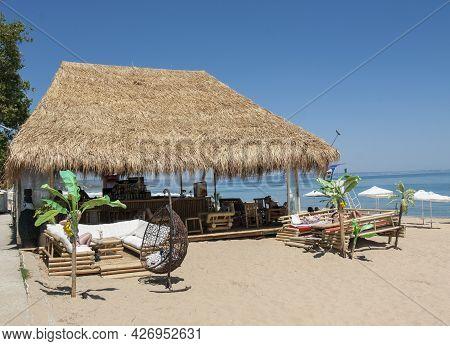 Golden Sands, Bulgaria - June 02, 2015: Cafe On The Beach In Golden Sands Resort, Golden Sands, Bulg