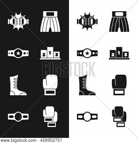 Set Award Over Sports Winner Podium, Boxing Belt, Punch Boxing Gloves, Short, Sport Shoes, And Icon.
