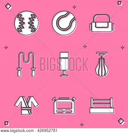 Set Baseball Ball, Tennis, Sport Bag, Jump Rope, Punching, Japanese Costume Kimono And Stopwatch Ico