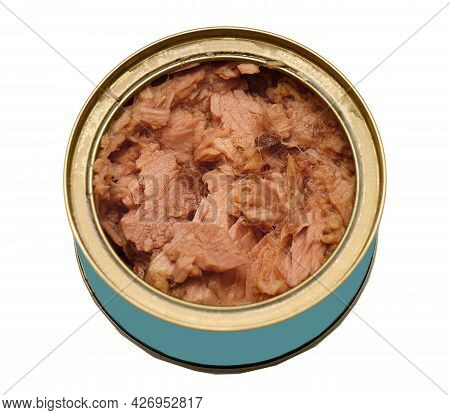 Open Metal Can Of Tuna Fish On White Background