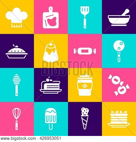 Set Cake, Candy, Lollipop, Spatula, Pudding Custard, Homemade Pie, Chef Hat And Icon. Vector