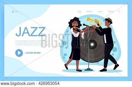 Jazz Singer Concept. A Musician Plays A Saxophone, And A Woman Sings Against The Background Of A Lar